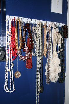 A detail shot of Catherine's necklace holder. Closet Storage, Bedroom Storage, Storage Organization, Organizing, Woman Bedroom, Necklace Holder, Room Decor, House Design, Crafty