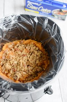 Who knew you could make sweet potato casserole in the slow cooker? This is perfect for holidays when your oven is already full of other dishes!Be sure to use Reynolds® Slow Cooker Liners for easy clean up!
