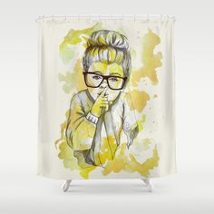 Silent girl by carographic Shower Curtain