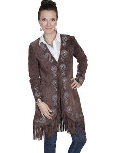 Womens Leather Jacket Collection Suede  Scully Western Embroidered Car Coat  Expresso e035bc475ea
