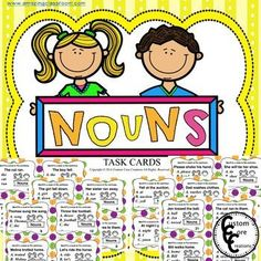These noun task cards are great practice for your students identifying nouns in everyday sentences. *24 task cards *2 sets of cards with different backgrounds *Scoring sheet *Answer keys included ***********************************************************************************************************************************