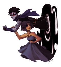 Opposite robin and raven Teen Titans Raven, Teen Titans Go, Teen Titans Fanart, Batwoman, Nightwing, Raven Comics, Marvel Dc Comics, Robin And Raven, Raven Beast Boy