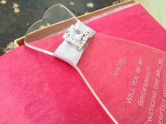 Will You Be My Bridesmaid Invitation, Acrylic, Rhinestone Slider, Flower Girl, Bridal Party Invites, Dress