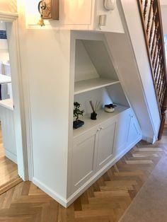 Hallway Understair Cabinet Understair bespoke fitted cabinet with shoe storage, hidden meter reader. Stair Shelves, Staircase Storage, Hallway Storage, Stair Storage, Understairs Shoe Storage, Cabinet Under Stairs, Under Stairs Storage Solutions, Hallway Seating, Hallway Designs