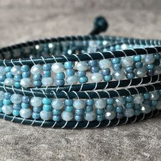 Let it go...with this Elsa inspired double wrap beaded bracelet.