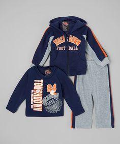 Love this Navy 'Touchdown' Fleece Sweatshirt Set - Infant & Toddler on #zulily! #zulilyfinds