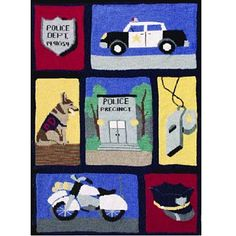 Honor the police officer (or the child who dreams of being one) with this special Wool-Ease throw. Each block is stitched in a solid color after which the images are created with duplicate or cross stitch. (Lion Brand Yarn)