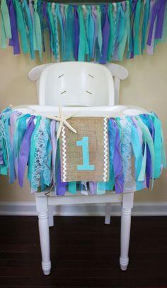 Under the Sea Highchair Banner, Mermaid Party, 1st Birthday Banner, Frozen Party, Elsa and Anna, #HighChair