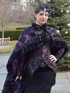 Victorian Bridal Cloak Capelet in Damask Satin and by auralynne