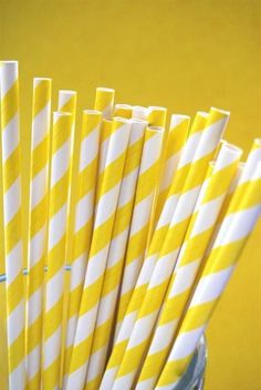 Bright Yellow Striped Paper Straws and PDF Printable Party Flags