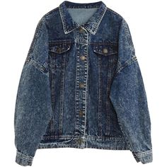 Batwing-sleeves Loose Denim Jacket (270 GTQ) ❤ liked on Polyvore featuring outerwear, jackets, tops, coats, denim jacket, jean jacket, blue jean jacket, loose denim jacket and blue denim jacket