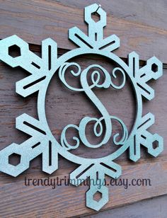Snowflake with Wooden Monogram Letter by TrendyTrimmings on Etsy, $25.00