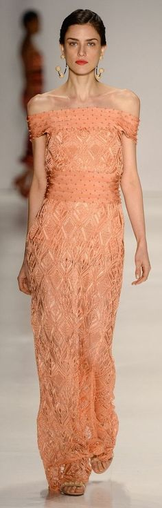 Lolitta RTW S/S 2015 - Sao Paulo - seeing more here from this line. Beautiful coral dress that would make you the standout of any event. The lace is charming, but the off-the-shoulder look zings up the sexy.