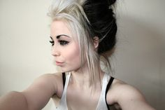 Blonde and black hair color idea