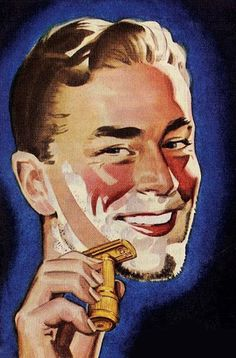 Shaving ~ detail from 1947 Stahly Razor ad. The Successful Gangster Male shaves his face. Mustaches are OK, as long as they are kept trimmed. Three day, and five o'clock shadows are never OK, and look slovenly and unkempt - and Jewish. Shaving & Grooming, Wet Shaving, Male Grooming, Vintage Advertisements, Vintage Ads, Vintage Posters, Barber Poster, Barber Shave, Shaved Hair Cuts