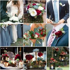 Dusty blue, Cranberry red and gold Wedding