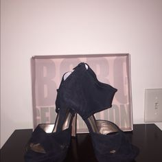 On sale today only BCBG black kid suede heels BCBG Generation- black kid suede heels- never worn. 4.5 inch heel with a 1 inch platform BCBGeneration Shoes Heels