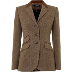 Lauren Ralph Lauren Tweed hacking jacket with suede tipped collar (51.875 HUF) ❤ liked on Polyvore featuring outerwear, jackets, blazers, coats & jackets, camel, lauren ralph lauren blazer, tailored jacket, tweed blazers, single breasted jacket and tailored blazer