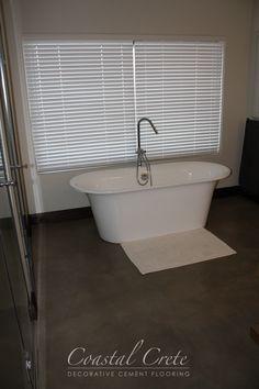 Coastal Crete Flooring | Colour Screed Flooring | Smooth | Seamless Decor, Lodge Bathroom, Coastal, Home, Lodge, Color, Cement Floor, Flooring, Floor Colors