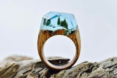 Made with fresh wood, jewelry resin, and beeswax, Canadian jewelry maker Secret Wood creates amazing worlds within the rings.