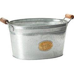 Ice Buckets - KINDWER Galvanized Bumblebee Oval Tub Silver -- Click image to review more details.