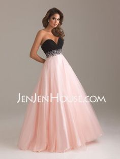 A-Line/Princess Sweetheart Floor-Length Satin Tulle Prom Dresses With Ruffle Beading (018004900) - JenJenHouse.com