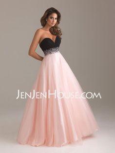 A-Line/Princess Sweetheart Floor-Length Satin Tulle Prom Dresses With Ruffle Beading (018004900) - JenJenHouse.com