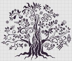 Cross Stitch Tree, Cross Stitch Heart, Simple Cross Stitch, Cross Stitch Flowers, Blackwork Embroidery, Cross Stitch Embroidery, Cross Stitch Designs, Cross Stitch Patterns, Pixel Art Templates