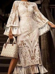 This elegant Lace Inwrought maxi dresses with tassel bell sleeve is a beatiful one with pure color. Bell Sleeve Dress, Maxi Dress With Sleeves, Lace Dress, Bell Sleeves, Lace Jumpsuit, Elegant Dresses, Beautiful Dresses, Nice Dresses, Maxi Dresses