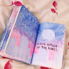 ♥︎ Wreck This Journal Ideas ♥︎ galaxy/night sky watercolor painting with buildings