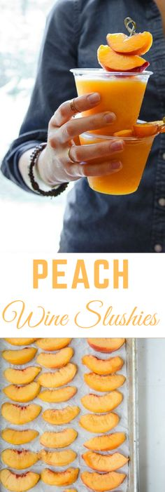 Use any kind of frozen fruit and any kind of wine. I love t… Peach Wine Slushies. Use any kind of frozen fruit and any kind of wine. I love them with peaches and sweet Riesling! DessertForTwo by jewel Party Drinks, Fun Drinks, Yummy Drinks, Alcoholic Drinks, Yummy Food, Mixed Drinks, Tasty, Summer Wine Drinks, Desserts
