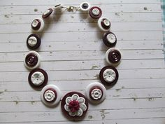 Vintage Button Necklace Burgundy and White Button Necklace Dark Red and White Vintage Retro