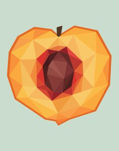 Illustrated a cute little peach today, because why not. (Done in Adobe Illustrat. Illustrated a cute little peach today, because why not. (Done in Adobe Illustrat. Illustrated a cute little peach today, because why not. (Done in Adobe Illustrator) Geometric Drawing, Geometric Shapes, Cristal Art, Food Graphic Design, Little Peach, Polygon Art, Fruit Illustration, 3d Prints, Fruit Art