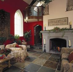 Living Room Decor- don't care for the chairs but the grey, red, and cream color scheme is lovely