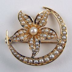 Victorian Half Seed Pearl Crescent Moon & Floral Brooch Pin 14 kt Gold #A1235  | eBay