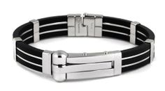 Black Steel Striped Leverlock Cuff Mens Bracelet Bold Steel. $39.00. comes gift boxed, ships immediately. futuristic design of polished steel and flexible black rubber, unique integrated clasp. lifetime warranty, satisfaction guaranteed. Save 34% Off!