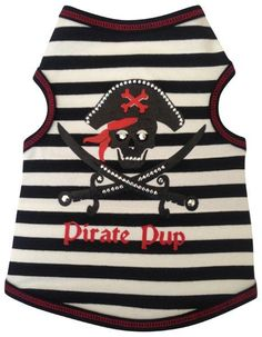 Pirate Pup Tank Shirt in color Black/Red - Daisey's Doggie Chic - 1