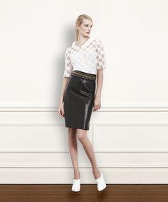 1) White Transparent Burnout Squares Blouse 2) Black Leather Side Zipper Pencil Skirt 3) Black Leather Chunky Chain Belt #WorthNewYork #Winter2014