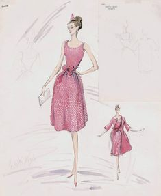 Edith Head sketch of a Givenchy design for Audrey Hepburn in Breakfast at Tiffany's (1961)