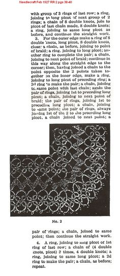 Needlecraft 1927 February Tatting Combines with Rickrack and Novelty Braids Pattern 2 - Anna J. Johnson