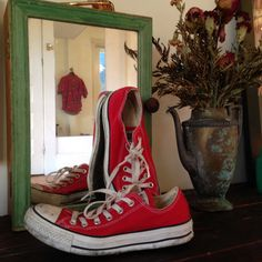 Vintage Red Converse Allstars + Good Sole  Size M6 + W8 on Etsy, $40.00