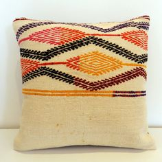 "Vintage Kilim Rug Pillow Covers Embroidered Kilim Rug Bohemian Pillow Floor Cushion Throw Pillow Accent Pillow Decorative Pillows 16"" x 16"""