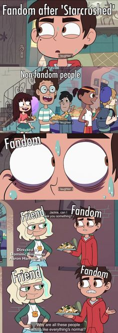 Why are all these people acting like everything's normal? Star vs the Forces of Evil Credit Disney Channel, Star Y Marco, Disney Xd, Star Butterfly, It Goes On, Force Of Evil, Star Wars, My Childhood, Star Vs The Forces Of Evil Starco