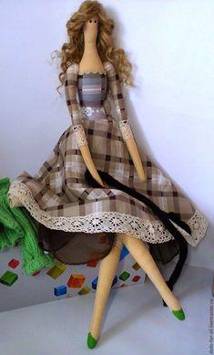 Купить Любовь Алексеевна Тильдовая - ярко-зелёный, коричневый цвет, кукла ручной работы