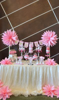 by tasty tables pink candy buffet pink flowers paper flowers candy buffet