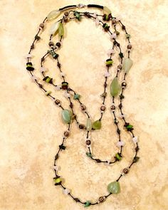 Glass Stones Necklace Knotted Necklace Beaded Long by FrancaandNen