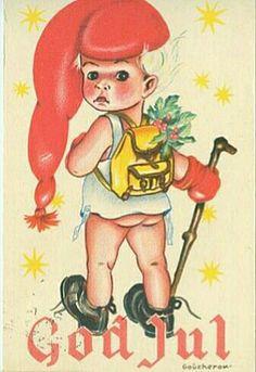 Julekort Anne Eline Coucheron nissegutt Utg J.H.Küenholdt postgått 1956