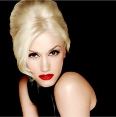 Clean light makeup with bold red lips--perfect with a blonde updo