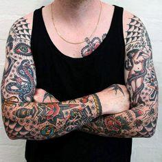 Old School Tattoo Sleeve American Traditional Style 65 Trendy Ideas Old School Tattoo Sleeve, Tattoo Sleeve Filler, Full Sleeve Tattoo Design, Full Sleeve Tattoos, Tattoo Sleeves, Tribal Tattoos, Tattoos Skull, Trendy Tattoos, Tattoos For Guys