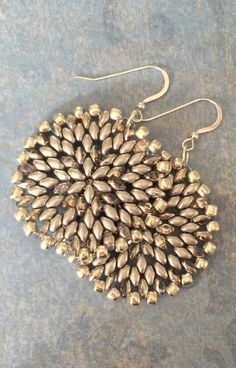Silver Satin Seed Bead Disc Earrings Big Bold Disc by WorkofHeart